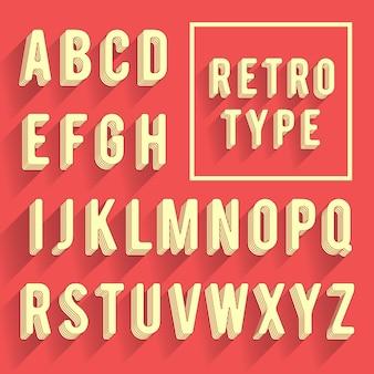 Alfabeto cartel retro fuente retro con sombra. letras del alfabeto latino