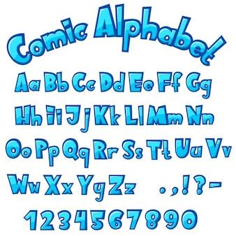 Alfabeto cartoon azul