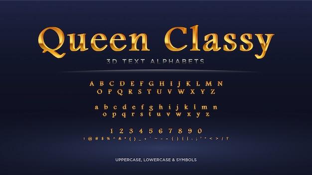 Alfabeto clásico de texto dorado de queen