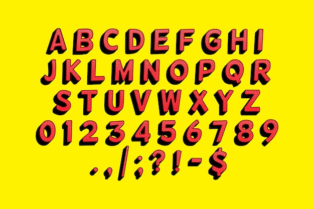 Alfabeto cómico 3d