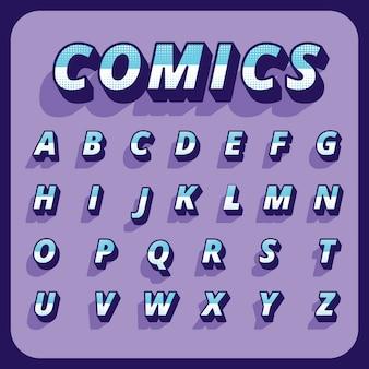 Alfabeto cómico tridimensional