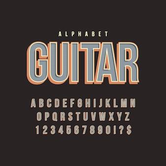 Alfabeto en concepto retro 3d
