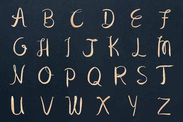 Alfabeto conjunto fuente de caligrafía mayúscula cursiva