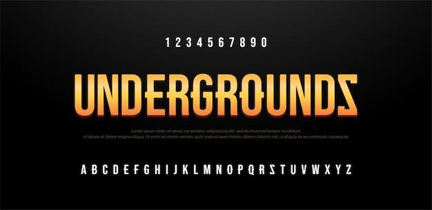 Alfabeto creativo de fuente sans serif moderno