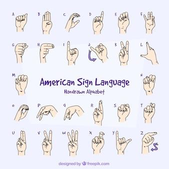 Alfabeto de lenguaje de señas en estilo hecho a mano