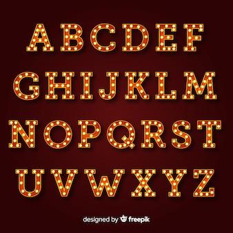 Alfabeto de letrero brillante en estilo vintage