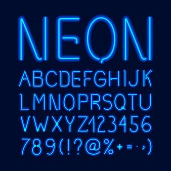 Alfabeto de resplandor de neón