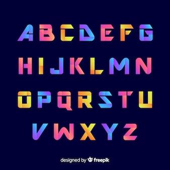 Alfabeto decorativo plantilla estilo degradado