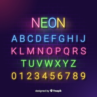 Alfabeto decorativo plantilla estilo neón