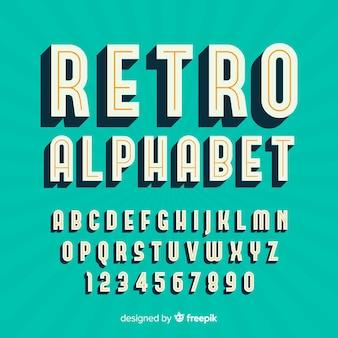 Alfabeto decorativo plantilla estilo retro