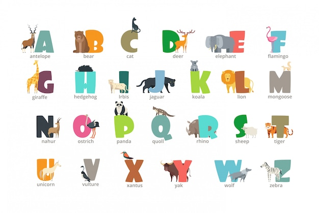 Alfabeto de dibujos animados animales salvajes niños