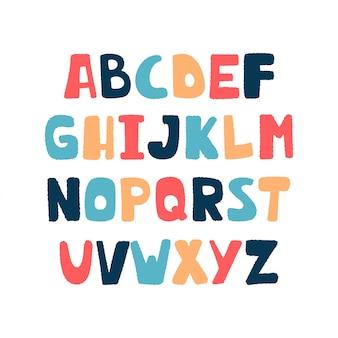 Alfabeto de dibujos animados coloridos para niños