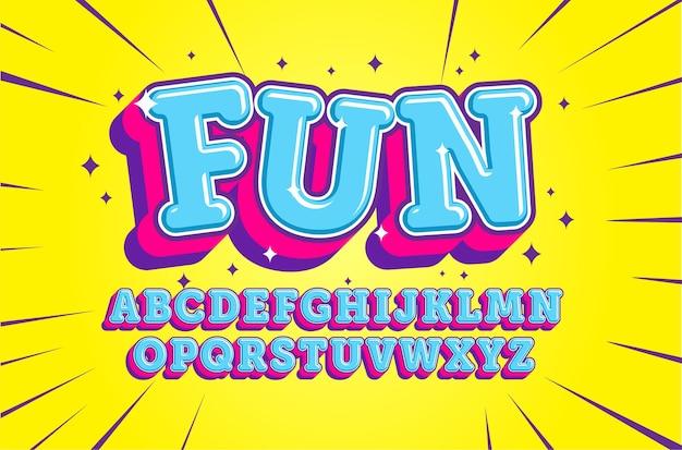 Alfabeto de dibujos animados divertido