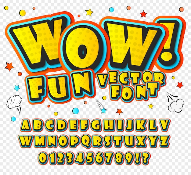 Alfabeto de dibujos animados en el estilo de los cómics y el estilo del arte pop.