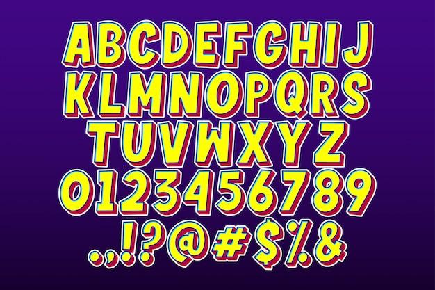 Alfabeto de dibujos animados de fantasía con extrusión roja