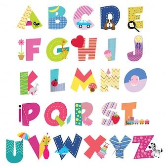 Alfabeto de dibujos animados lindo para niños