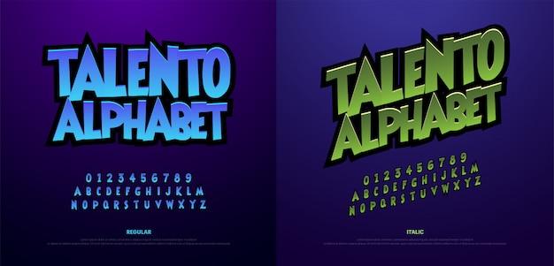 Alfabeto de dibujos animados miedo tipográfico.