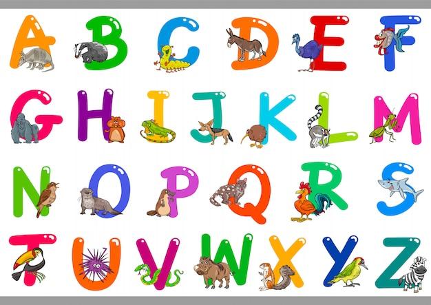 Alfabeto de dibujos animados con personajes de animales felices