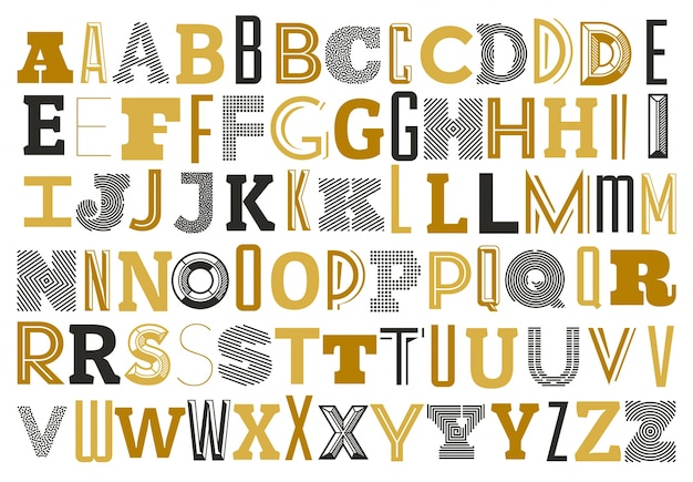 Alfabeto con diferentes letras