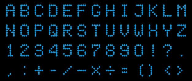 Alfabeto digital led, fuente, número electrónico.