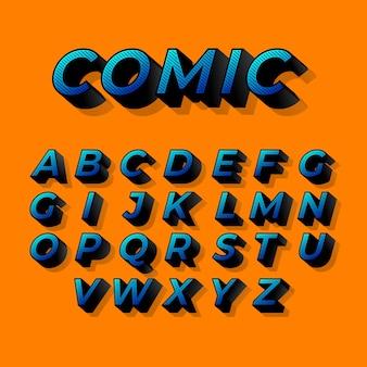 Alfabeto de diseño cómico 3d
