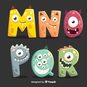 Alfabeto de diseño de monstruo de halloween