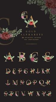 Alfabeto dorado colección con adornos florales.