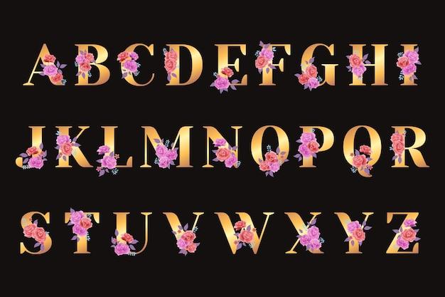 Alfabeto dorado con concepto de flores doradas