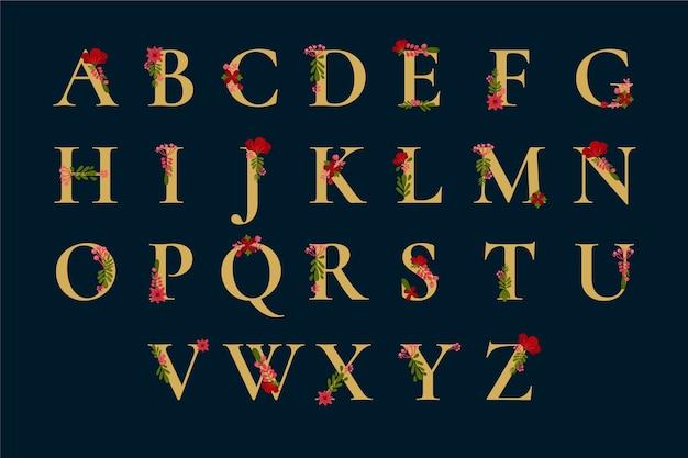 Alfabeto dorado con elegantes flores lindas