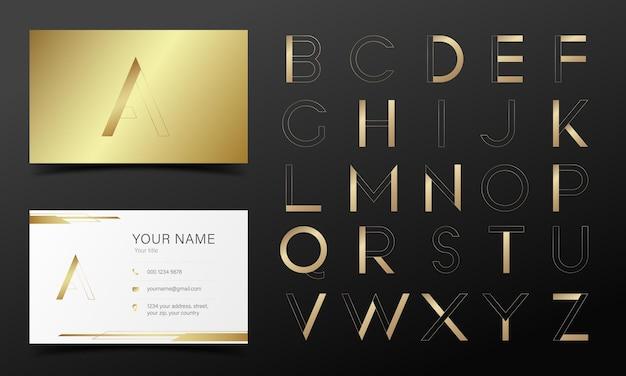 Alfabeto dorado en estilo moderno para logotipo y diseño de marca.