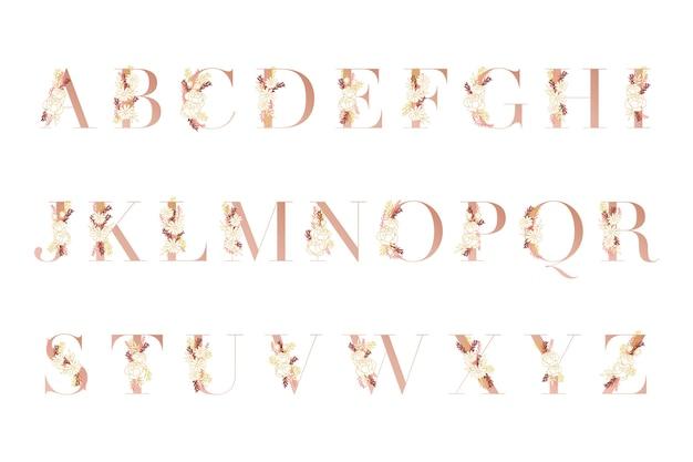 Alfabeto dorado con flores diferentes