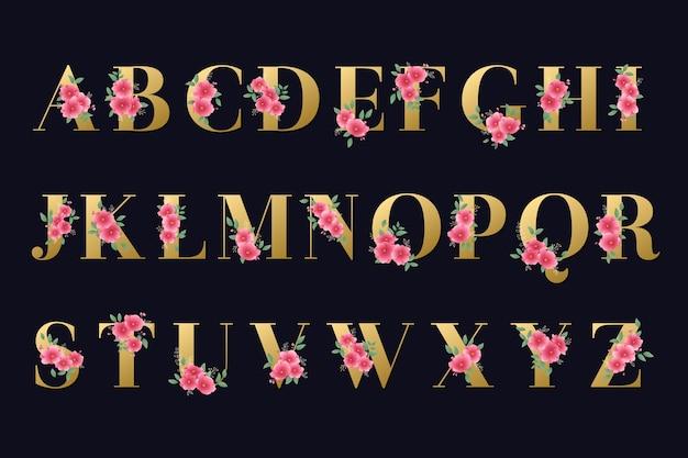Alfabeto dorado con flores doradas