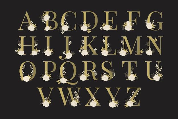 Alfabeto dorado con lindas flores