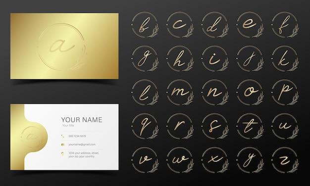 Alfabeto dorado en marco redondo para logotipo y diseño de marca.