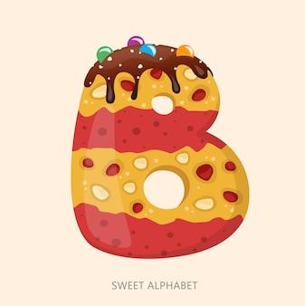 Alfabeto de dulces de dibujos animados letra b.