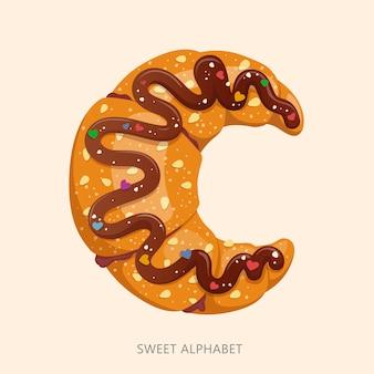 Alfabeto de dulces de dibujos animados letra c