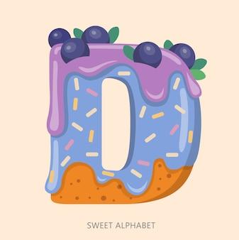 Alfabeto de dulces de dibujos animados, letra d, ilustración, aislado sobre fondo blanco