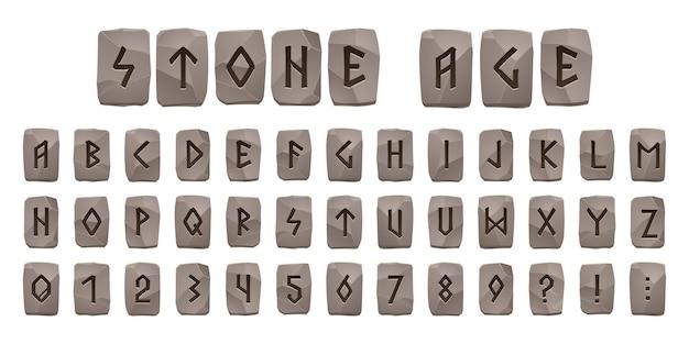 Alfabeto de la edad de piedra de runas vikingas, fuente celta con signos rúnicos antiguos en piezas de roca gris. abc letras escandinavas de estilo nórdico, dígitos y signos de puntuación, símbolos de tipo futark, conjunto de vectores de dibujos animados