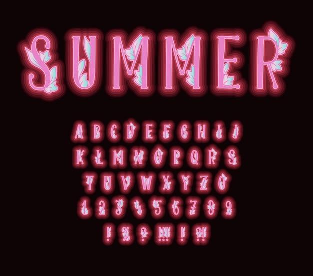 Alfabeto con efecto de neón rosa y hojas decorativas. fuente tipografía con letras y números
