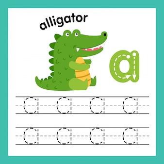 Alfabeto un ejercicio con ilustración de vocabulario de dibujos animados, vector