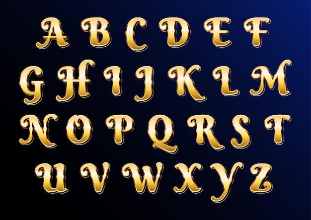 Alfabeto elegante clásico de oro oriental con letras