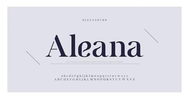 Alfabeto elegante letras fuente serif y conjunto de números