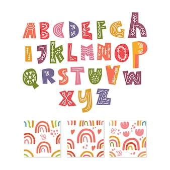 Alfabeto escandinavo y conjunto de patrones sin fisuras lindo