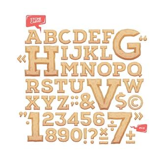 Alfabeto esculpido piedra tallada letras, números y símbolos de tipo de letra. ilustración.