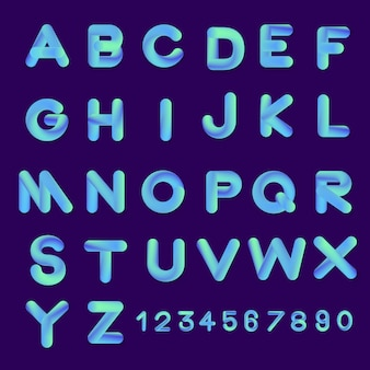 Alfabeto establece colores degradados de estilo de fuente de burbuja. ilustrar.