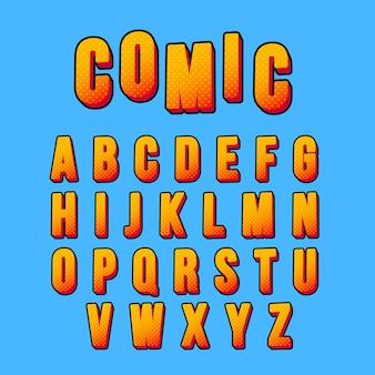 Alfabeto de estilo cómico 3d