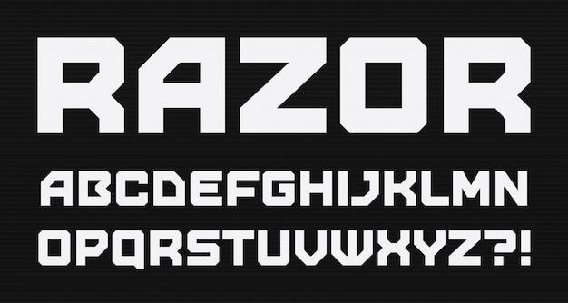 Alfabeto de estilo geométrico moderno. fuente cuadrada en negrita, tipo minimalista