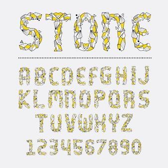 Alfabeto estilo geométrico de piedra de roca en un conjunto.