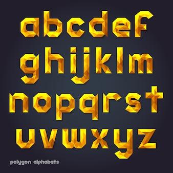 Alfabeto estilo polígono de color dorado.