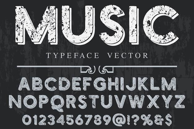 Alfabeto etiqueta diseño música